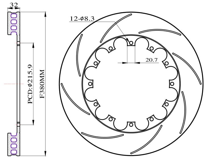 Tarcze hamulcowe nacinane do zestawu Big Brake 380mm 2011+ - GRUBYGARAGE - Sklep Tuningowy